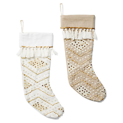 Asst. of 2 Sequin Stockings, White/Gold