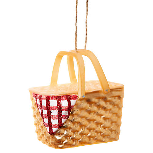"3"" Picnic Basket Ornament, Gold/Red"