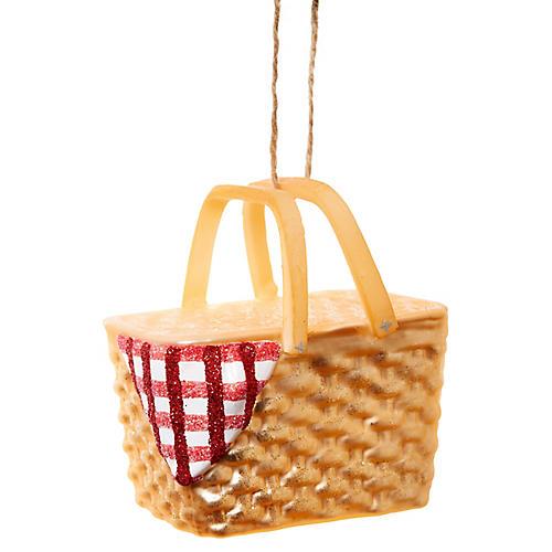 "3"" Picnic Basket Ornament, Gold/Red"