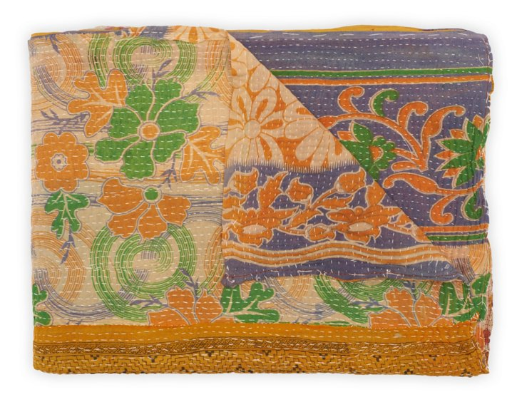Hand-Stitched Kantha Throw, Lilac