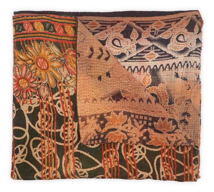 Hand-Stitched Kantha Throw, Betty