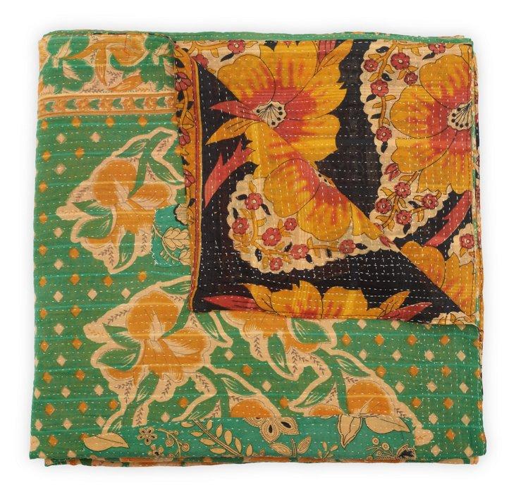 Hand-Stitched Kantha Throw, Spring