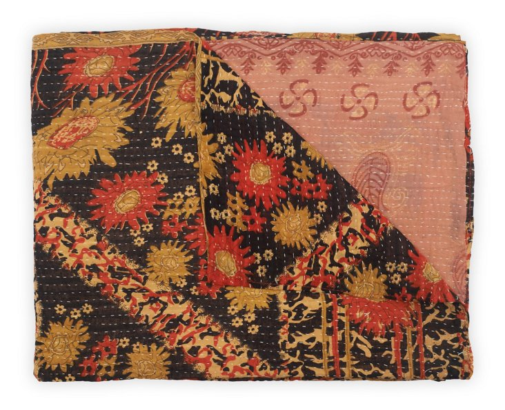 Hand-Stitched Kantha Throw, Bevel