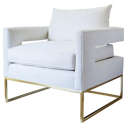 Bevin Chair, Ivory/Brass Linen