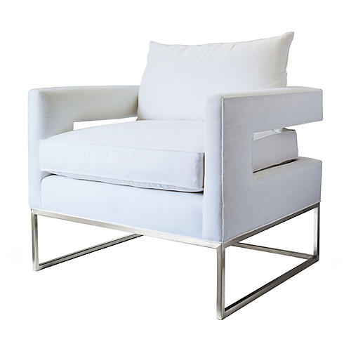 Bevin Chair, Ivory/Chrome Linen