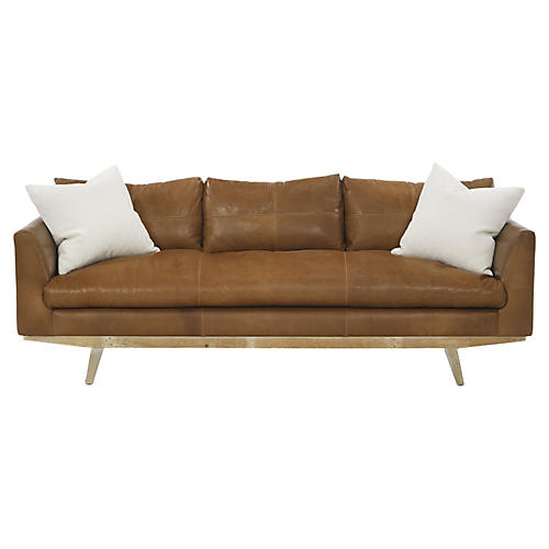 Newell Small Sofa, Tobacco Leather