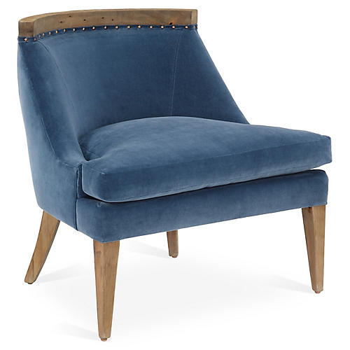 Bryce Accent Chair, Harbor Blue Velvet
