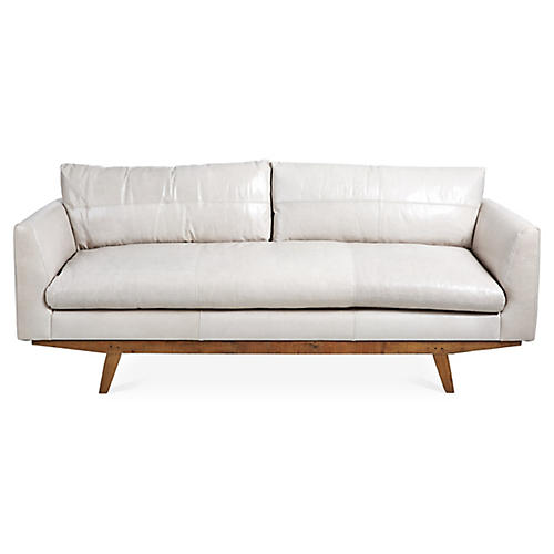 Newell Small Sofa, Oyster Gray Leather