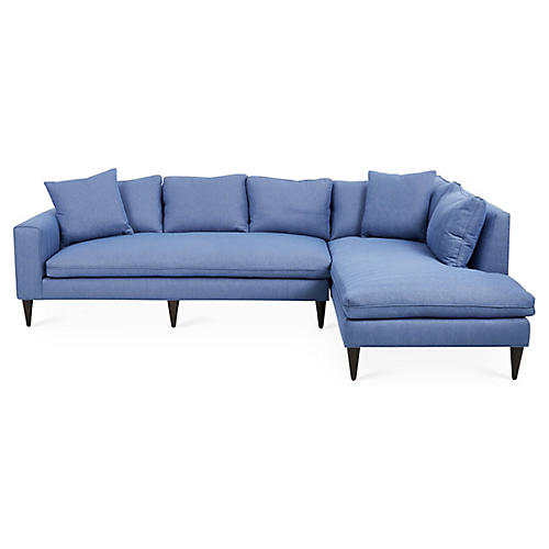 Upton Right-Facing Sectional, Azure