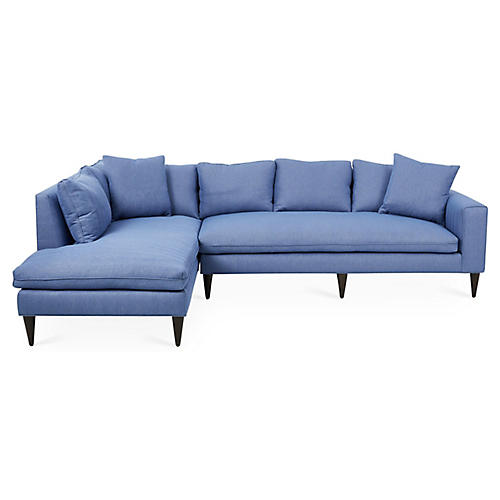 Upton Left-Facing Sectional, Azure