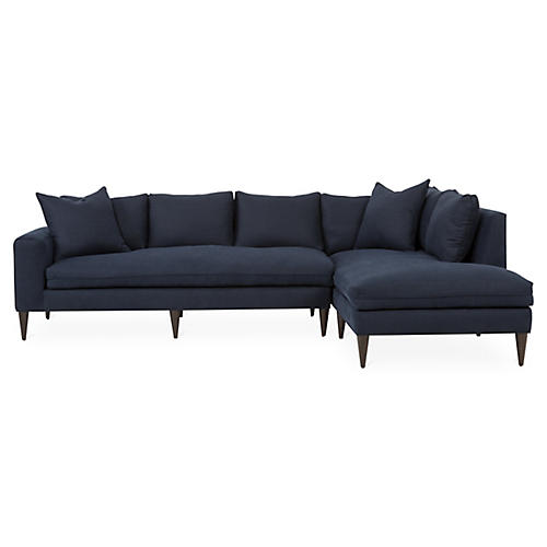 Upton Right-Facing Sectional, Navy Linen
