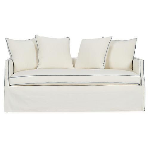 Dumont Premium Trundle Bed, Ivory/Blue Linen
