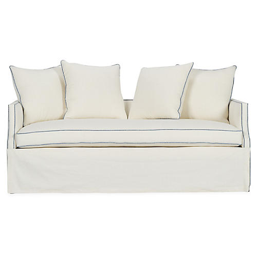 Dumont Trundle Bed, Ivory/Blue Linen