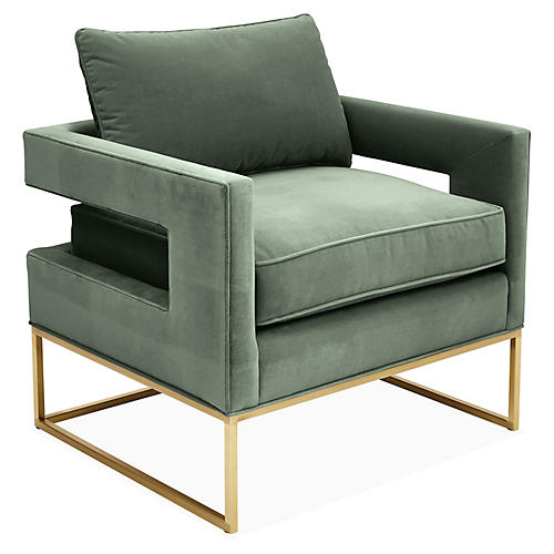 Bevin Accent Chair, Sage Velvet