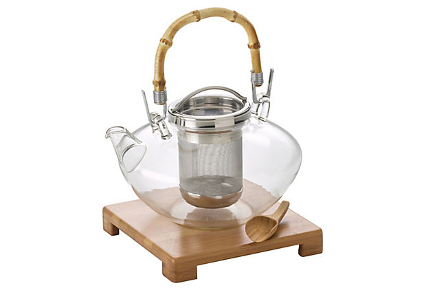Glass Teapot w/ Infuser & Bamboo Stand