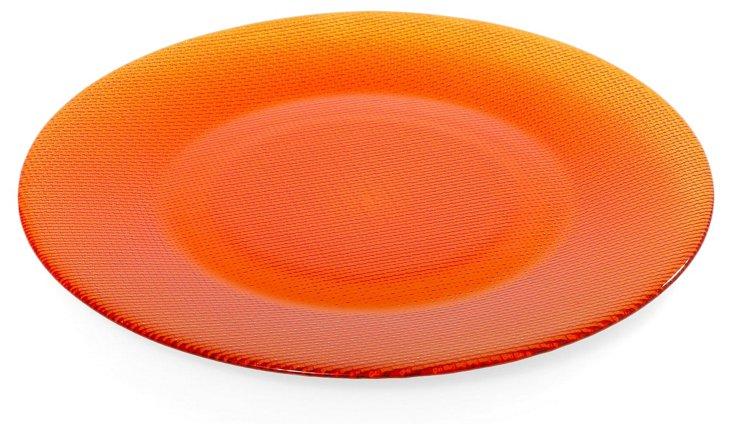 S/6 Glass Inca Chargers, Orange