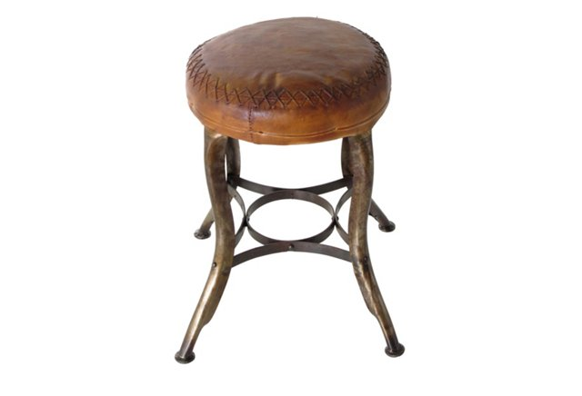 Leather Cafeteria Stool