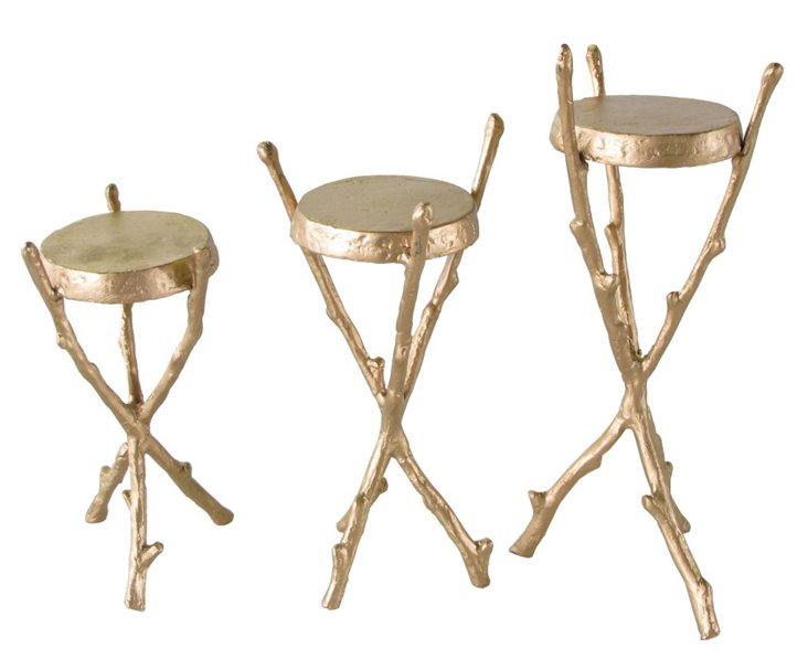 Faux Bois Candle Stands, Asst. of 3