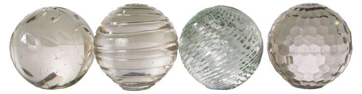 Glass Design Paperweights, Asst. of 4