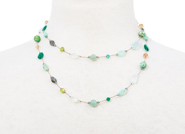 Long Green Multi-Stone Necklace