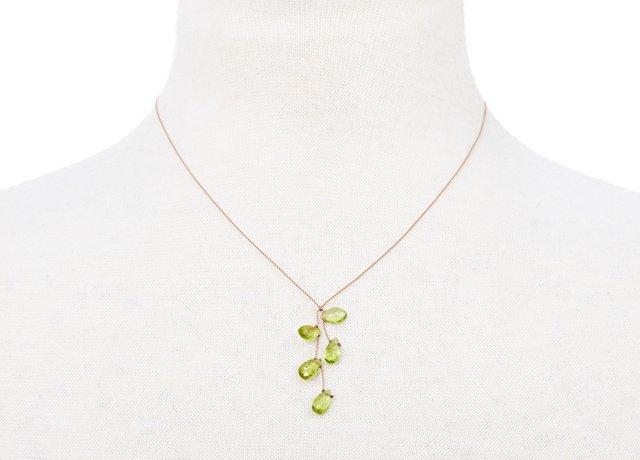 Peridot Teardrop Cluster Necklace