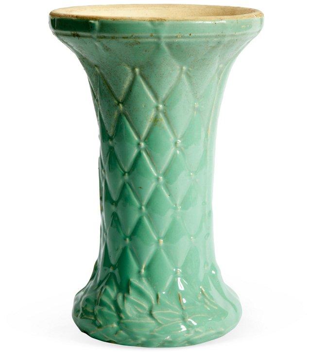 Vintage Turquoise & Cyan Ceramic Vase