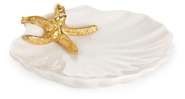 "6"" Clam Plate w/ Starfish, Gold"