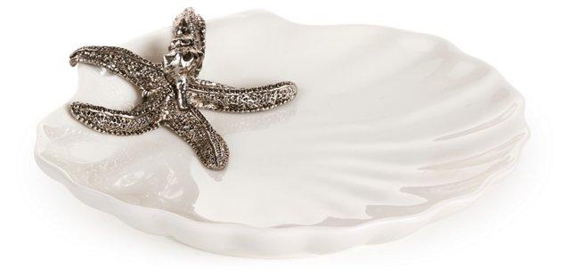 "6"" Shell Plate w/ Starfish, Silver"