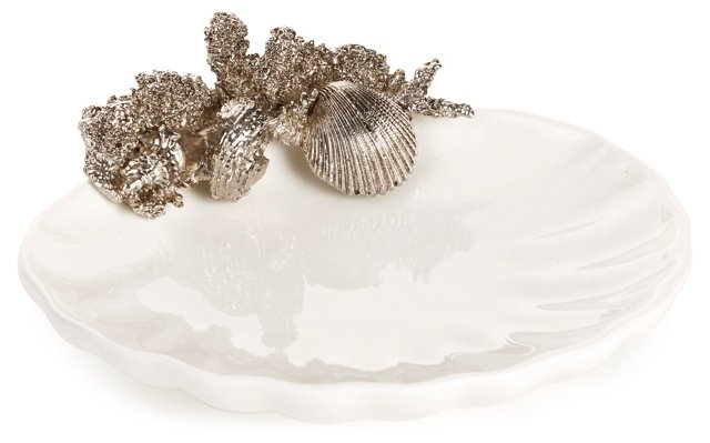 Shell Plate w/ Coral Cluster, Silver