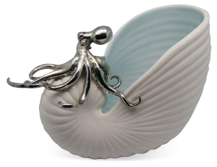 "7"" Nautilus Bowl w/ Octopus"