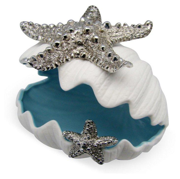 "6"" Ceramic Clam Dish w/ Starfish"