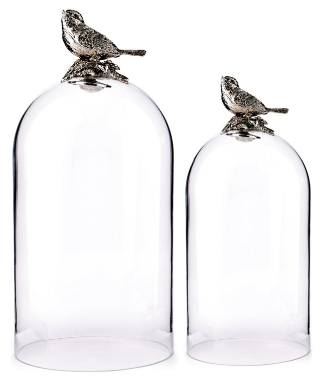 Asst. of 2 Bird Glass Cloches