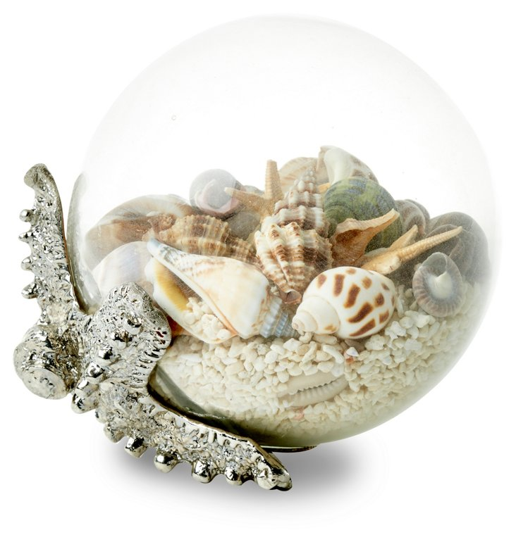 """5"""" Glass Orb with Starfish"""