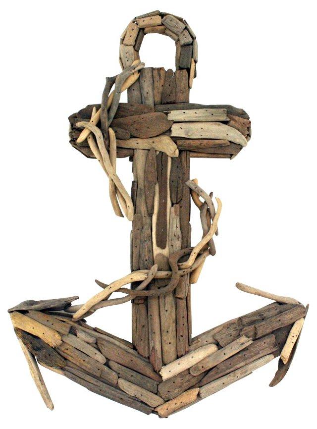 "21"" Driftwood Anchor, Brown"