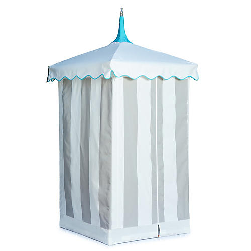 Exuma Outdoor Cabana, Gray/White Sunbrella