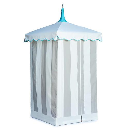Exuma Outdoor Cabana, Gray/White Sunbrella