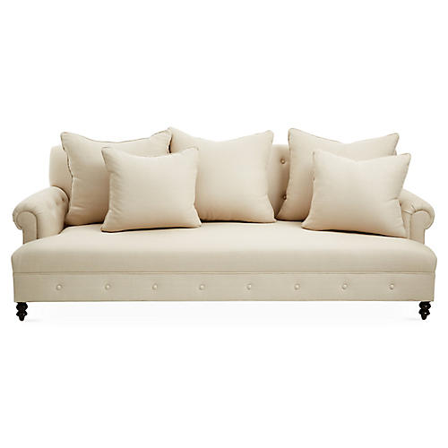 "Mrs. Smith 95"" Sofa, Natural"