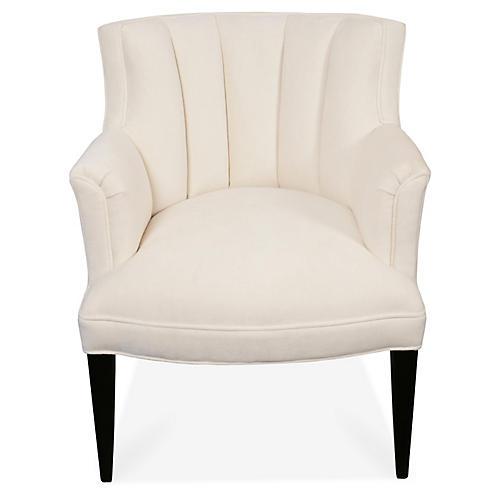 Anne Channeled Chair, Ivory Velvet