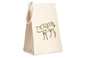 Recycled Cotton Bag, Butcher Cow Diagram