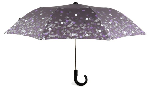 Compact Cane Umbrella, Daisy Gray