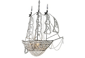 Ship Chandelier, Glass/Bronze