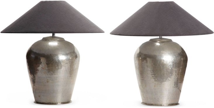 Hammered Silverplated Lamps, Pair