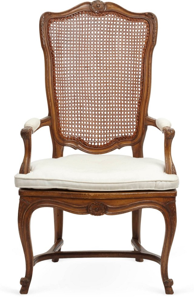 Louis XV-Style Cane-Back Armchair