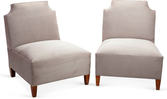 Ultra-Suede Chairs, Pair
