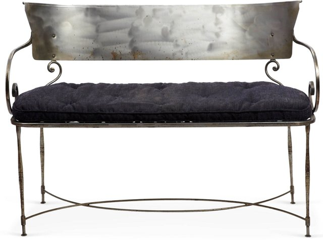 Polished Steel Bench w/ Cushion