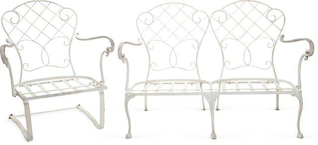 Wrought Iron Settee & Armchair