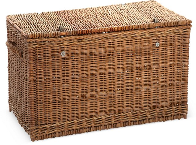 Large French Wicker Trunk