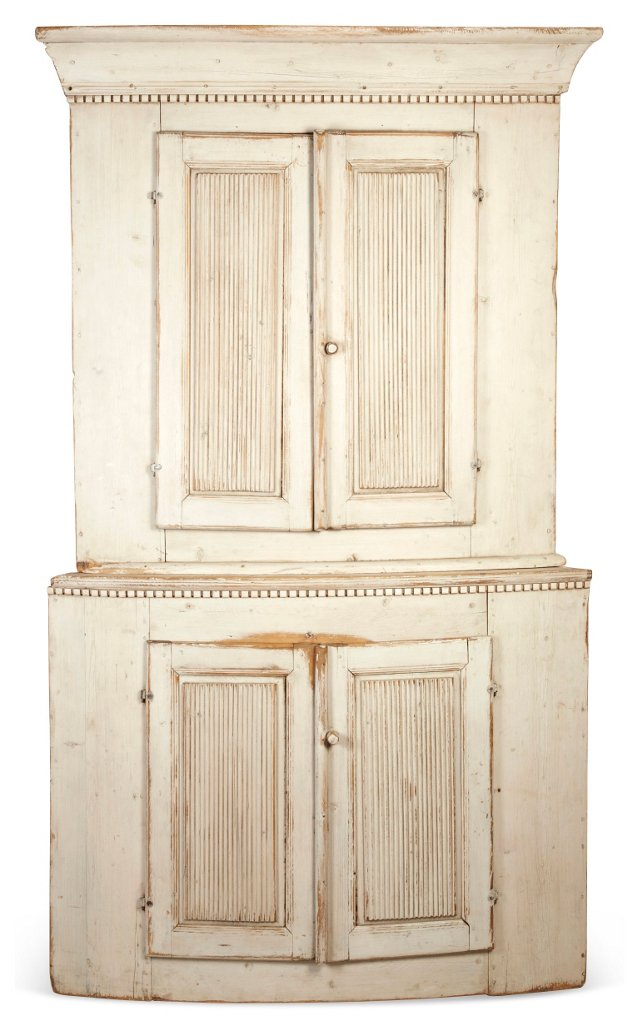 19th-C. Gustavian Corner Cabinet