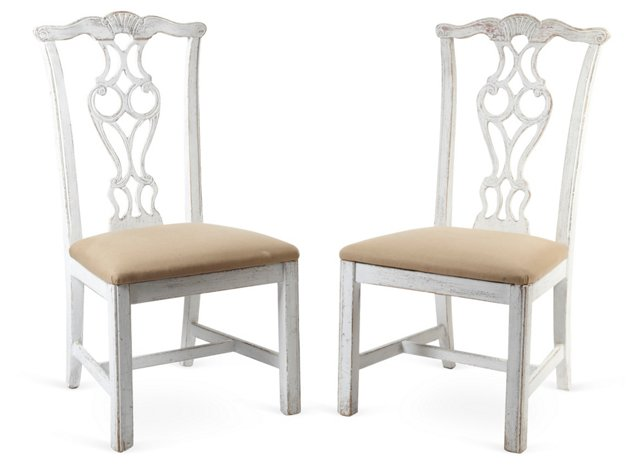 Painted Chippendale-Style Chairs, Pair