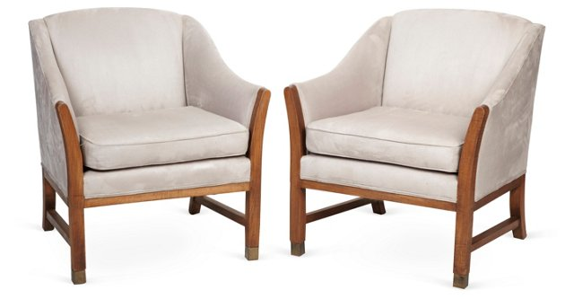 Gray Club Chairs, Pair